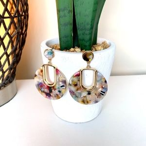 NWT  Multi Color Resin Earrings